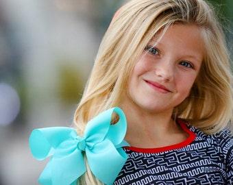 Aqua XL Extra Large Hair Bow - Aqua Hair Bow, XL Hair Bow, Extra Large Hair Bows, Big Hair Bows