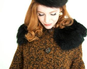 Vintage black fur hat, velvet 1950s formal pin-up pillbox