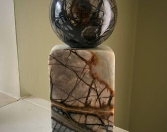 Picasso Marble Crystal Ball Sphere and Matching Stand