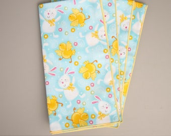 Easter Napkins, Set of 4 Cloth Table Napkins, Napkins with Chicks and Bunnies, Easter Table Decor, Easter Table Linens, Easter Gift