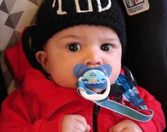 Personalized Baby Hat - Monogram Baby - Crochet Baby Hat - Baby Beanie - Crochet Baby Beanie - Monogram Hat - Black Baby Hat - Baby Hat