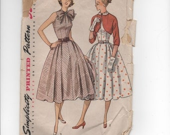 "1950's Simplicity One-Piece Dress with Bow detail and Jacket pattern - Bust 31"" - No. 3858"