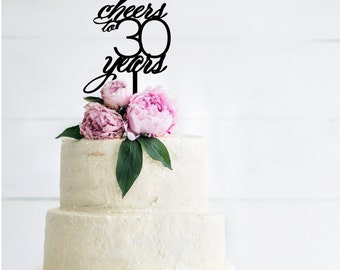 Cheers to 30 Birthday Cake Topper | Cheers to 40 | Cheers to 50 | Cheers to 60 | Anniversary Cake Topper