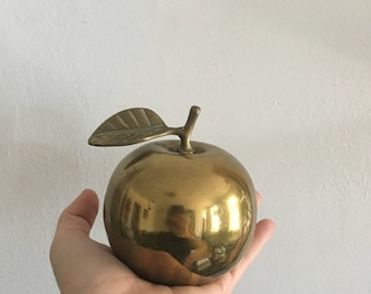 vintage brass apple bell. glam back to school teacher gift. dorm decor. 1960s snow white brass apple. mid century brass figurine.