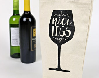 Wine Tote - Recycled Cotton Canvas - Nice Legs