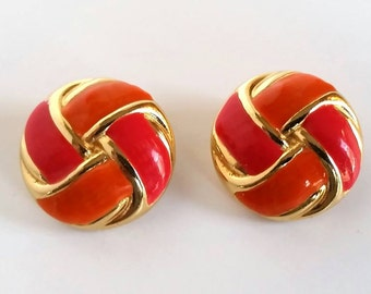 Vtg 80's Signed GAY BOYER EARRINGS Knot Design Costume Jewelry High End Vintage