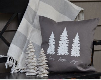 Love, hope and joy decorative pillow - 18x18 inch pillow cover - Woodland trees