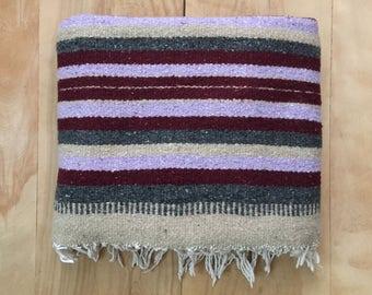 Vintage Serape Blanket - Southwest Mexican Blanket Serape Saddle Fish Cabin Stripe