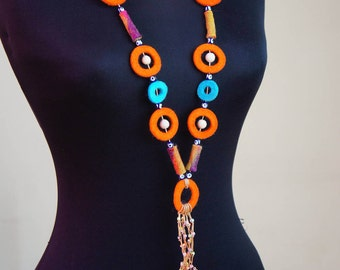 SALE %30 Felt Necklace, Felt Circle Necklace, Boho Necklace, Felt Bead Necklace, Necklace, Felt Jewelry, Evil Eye Necklace, Wool Necklace