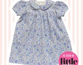 Girl's Liberty Print Peter Pan Smock Dress | Baby to 6 Years | Blue D'Anjo