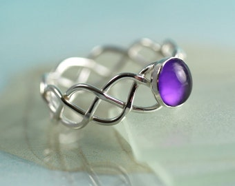 Celtic Silver Ring Set With Deep Purple Amethyst Dome - Your Size