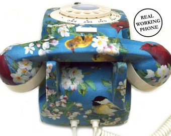 Retro Print Bird Fabric Upcycled Vintage Rotary Phone FULLY WORKING - Unique Home Decor