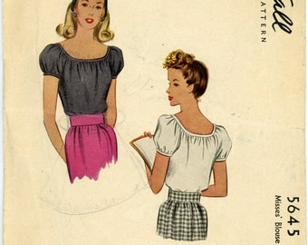 Vintage McCall Pattern 5645 - 1944 - Misses' Blouse Size 12 Bust 30