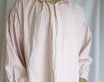 Historical costume shirt - men's rustic ticking striped cotton work shirt