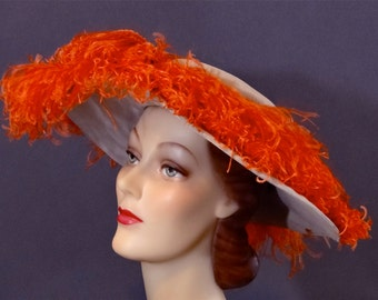 Cartwheel Hat 1940's Wide Brim - Peach Ostrich Plumes - Women's Vintage Accessories