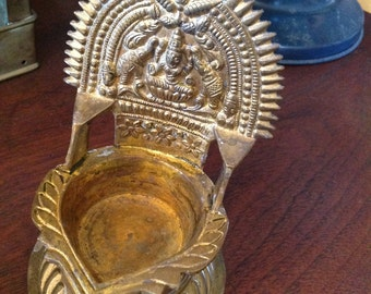 Brass Oil Lamp, with Lakshmi, for Puja, Pooja, Elephants, Lotus, Intricate, Diya, Diwali lights