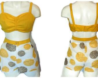 SALE Vintage 70s Bikini Top Shorts Set Yellow Geometric Bra Top Short Shorts Amazing Mod Circle Print Sun Suit Playsuit L