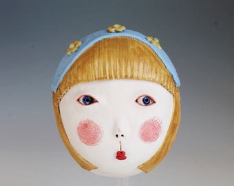 Ceramic mask, Ceramic sculpture, Gretel, Original hanbuilt mask, Stoneware, Ceramic art. Brother Grimm
