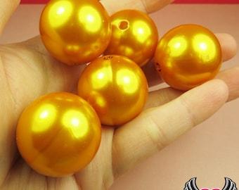 HUGE PEARL BEADS 30mm Shocking Yellow Orange Imitation Pearls / Chunky Bubblegum Necklace Beads / jumbo pearls