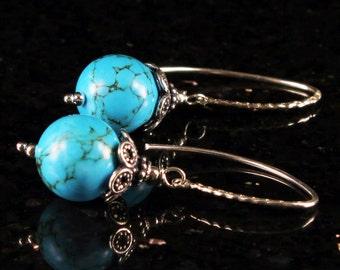 Turquoise Earrings, Sterling Silver earrings, statement earrings with blue gemstone, fine earrings, gift for her, holiday gift, ER2723