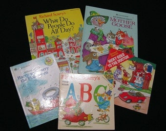 Richard Scarry Lot of 5; Mother Goose, What Do People Do All Day?, Nicky Goes to the Doctor, Harry and Larry the Fishermen, Find Your ABC's