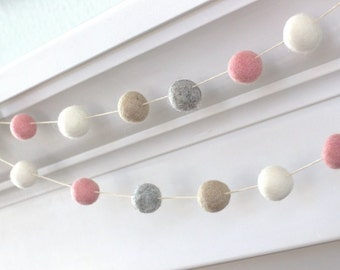 Felt Ball Garland- Pink. Gray, Almond & White- Pom Pom- Nursery- Holiday- Wedding- Party- Childrens Room