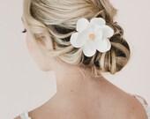White Magnolia Hair Clip. Magnolia Hair Accessories.