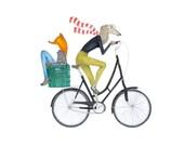 FRIENDSHIP PRINT fox and dog riding a bicycle art print fox illustration dog drawing  bike print bicycle illustration art print fox drawing