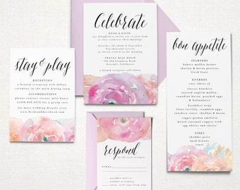Printable Wedding Invitation Suite - Floral Romantic - Watercolor Flowers, Ranunculus