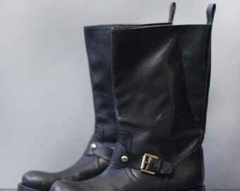 RALPH LAUREN vintage black leather women motorcycle style mid calf boots Sz 6 36