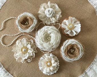 7 burlap and lace handmade flowers with pearl buttons wedding cake, bridal bouquets, headbands