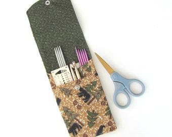Knitting Needle Case, DPN or Crochet Hooks Case, Knitting Needles Organizer, Artist Supplies Storage Case - Black Bear in the Woods