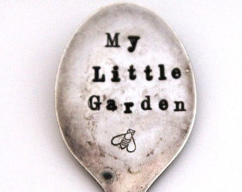 Spoon GARDEN MARKER Vintage Demitasse Spoon - My Little Garden & a BEE - Garden Shabby Chic - Ready To Ship, Made In Usa