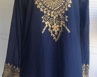 Gold Embroidered Indian Tunic Black Light Weight Cotton L