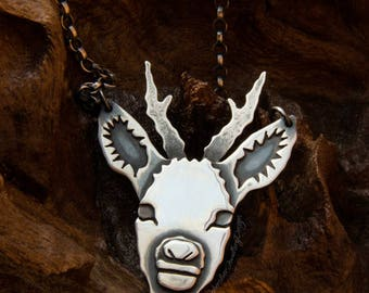 Stag head pendant, silver deer, deer head, sterling silver, Roebuck pendant, silver deer necklace, woodland jewellery, UK hallmark, handmade