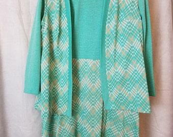 L XXL Extra Large Volup Plus Size Vintage 60s Pale Green Orange Print Long Sleeve Mod Modette Classic Party Maternity Dress Issues Vest