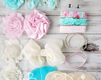 DIY Headband Kit in Aqua, Cream, and Pink - Can be sized to fit Newborns, Infants, or Toddlers