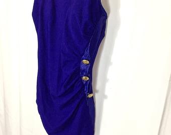Plus Size Retro One Piece Bathing Suit / Size 16 / Blue Ruched