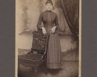 Cabinet Card of a Nicely Dressed Girl ~ Pretty Painted Backdrop