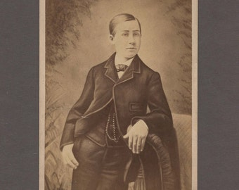 Odd Cabinet Card of a Young Man ~ Body Drawn In