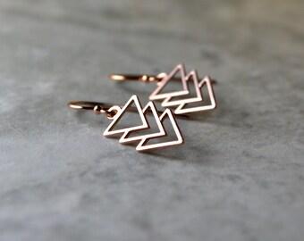 Rose Gold Geometric Earrings, Triangle Earrings, Chevron Earrings, Arrow Jewelry, Pink Gold Dangle Earrings, Rose Gold Drop Earrings, Gift