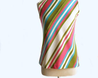 Vintage 60s Jack Winter striped top/ green blue pink white multicolor sleeveless shirt/ new mom top/ unique front opening
