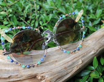 Wire Wrapped Sunglasses with Moon Charm, Rainbow Titanium Nuggets, Aventurine, Pyrite in Quartz & Czech Fire Polished Beads