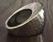Hammered Abstract Large Chunky Angle Ring in Stainless Steel - Multiple Sizes - Comfy and Lightweight - Crazy Modern Vibe