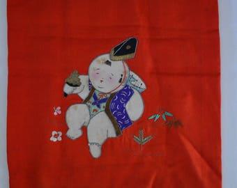 Silk fukusa, hand embroidered vintage Japanese cloth, baby congratulations gift cloth