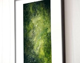Libra, Zodiac Sign, Watercolor Print, 5x7, 8x10, Wall Art, Galaxy, Constellation, Stars, Astrology, Astronomy, Gift, Giclee Print