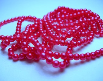 3.5 MM Fuchsia Pearls - 375 Pink Pearls - Vintage Pearl Lot - Japanese Pearls - Deep Pink Beads - Vintage Bead Lot