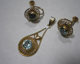 Vintage 10k Yellow Gold Starlite Blue Zircon Pendant Earring Set by Church and Co.