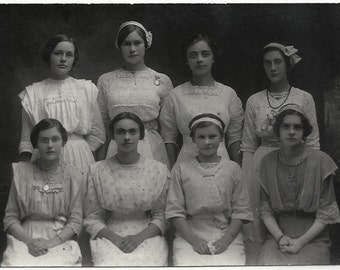Old Photo Postcard Group of Women wearing Dresses Lace Stripes 1910s Cyko Rppc Photograph Snapshot vintage