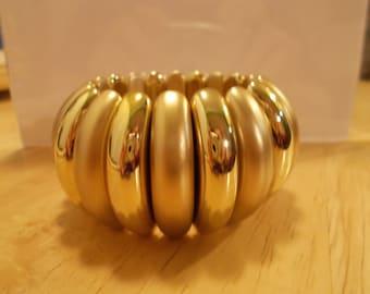 SALE Gold Tone Stretch Cuff Bracelet